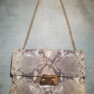 MICHAEL KORS python skin chain strap purse